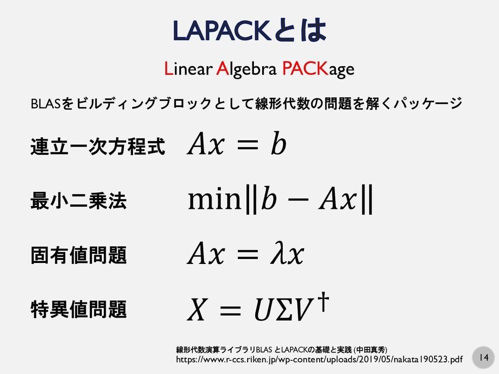 14 Linear Algebra PACKage BLASをビルディングブロックとして線形代...