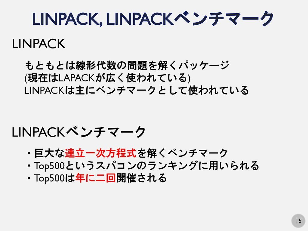 15 もともとは線形代数の問題を解くパッケージ (現在はLAPACKが広く使われている) LI...