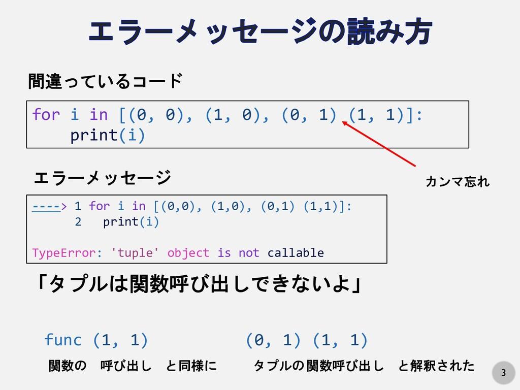 3 for i in [(0, 0), (1, 0), (0, 1) (1, 1)]: pri...