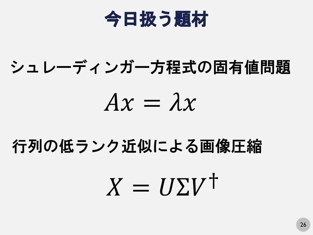 """26 シュレーディンガー方程式の固有値問題 行列の低ランク近似による画像圧縮 !"""" = $"""" ..."""