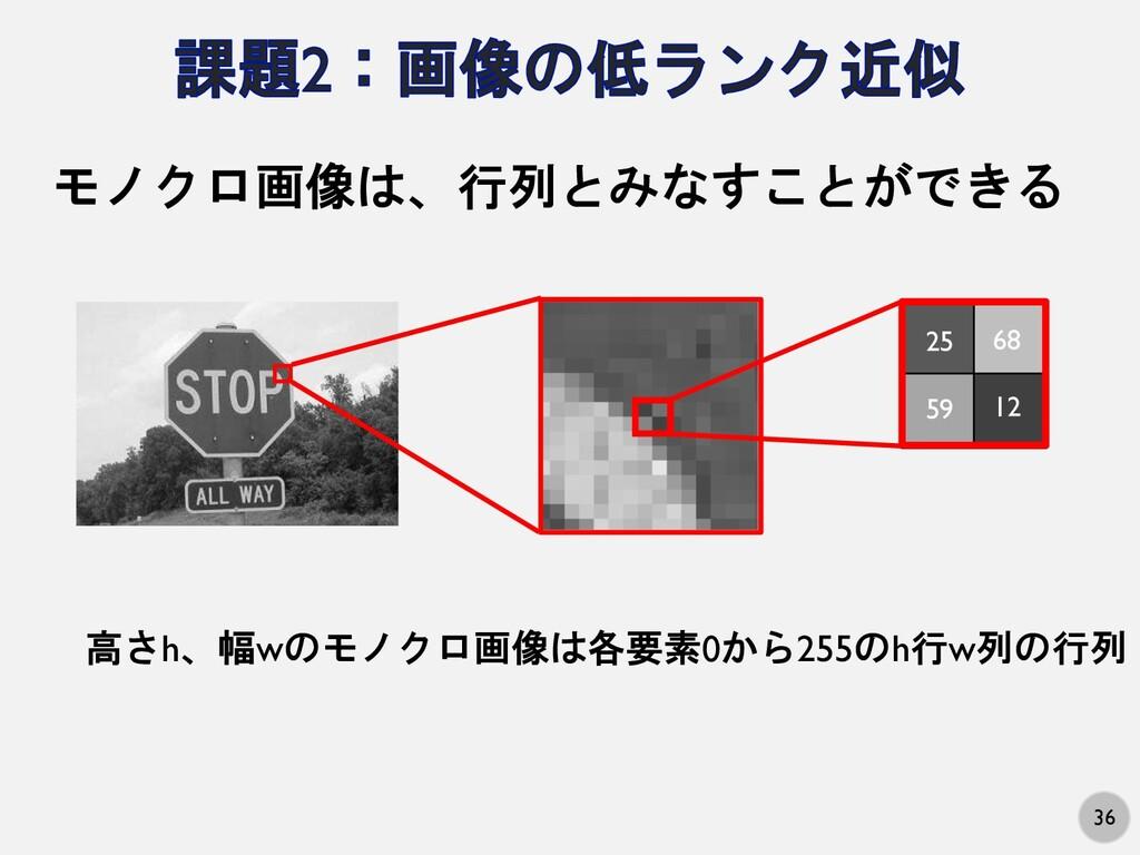 36 モノクロ画像は、行列とみなすことができる 25 68 59 12 高さh、幅wのモノクロ...