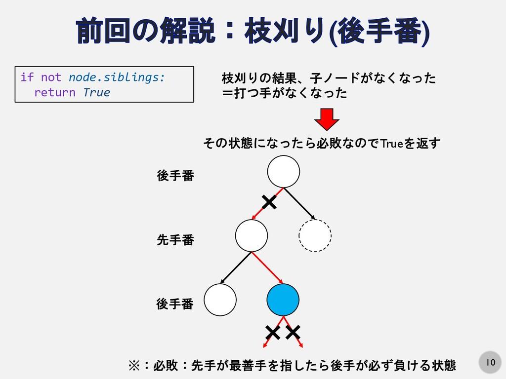 10 if not node.siblings: return True 先手番 後手番 後手...