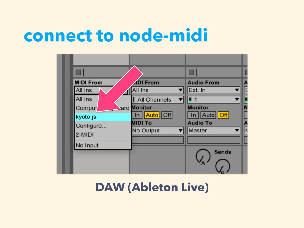 connect to node-midi DAW (Ableton Live)