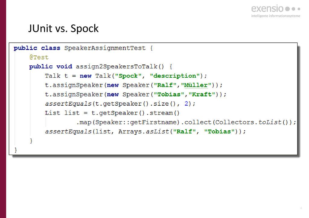 4 JUnit vs. Spock