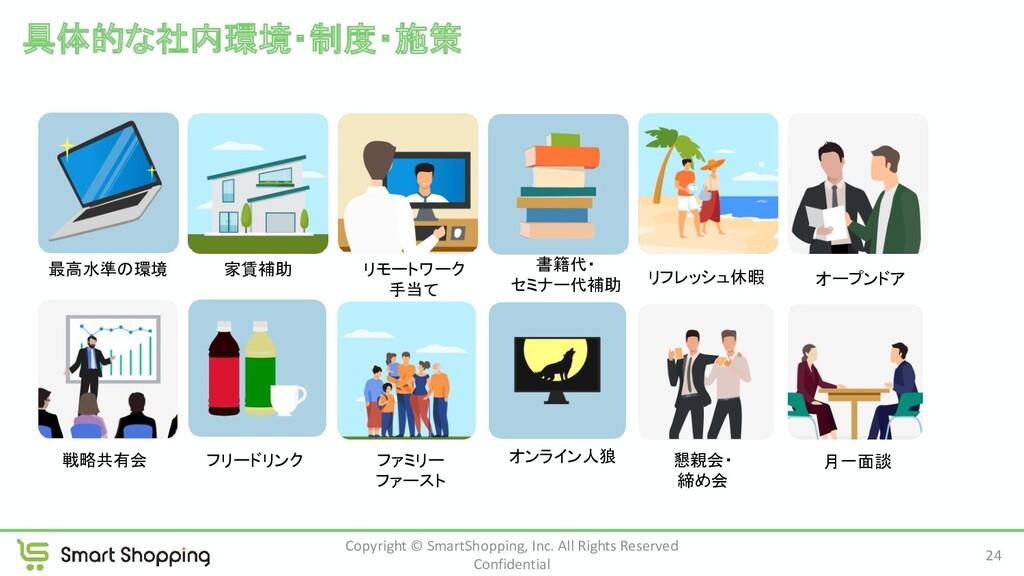 具体的な社内環境・制度・施策 24 Copyright © SmartShopping, I...