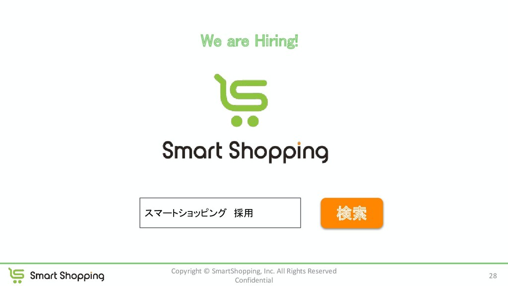 We are Hiring! 28 Copyright © SmartShopping, I...