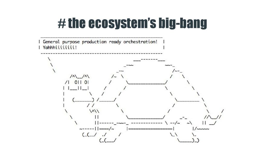 # the ecosystem's big-bang