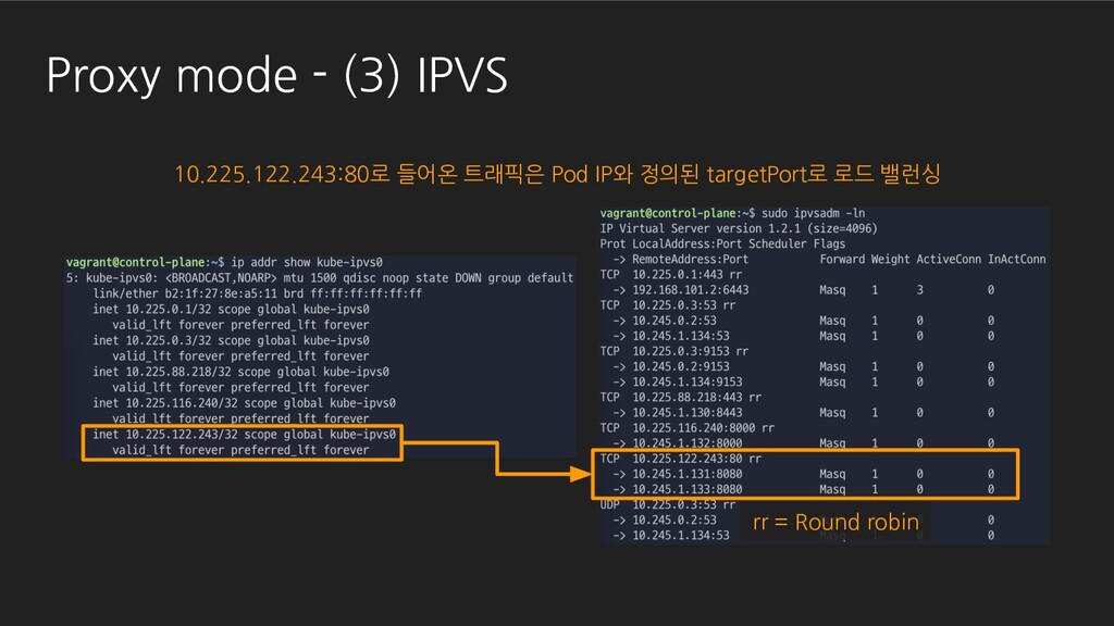 Proxy mode - (3) IPVS 10.225.122.243:80로 들어온 트래...