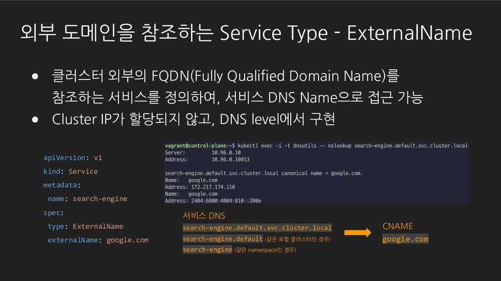 ● 클러스터 외부의 FQDN(Fully Qualified Domain Name)를 참...