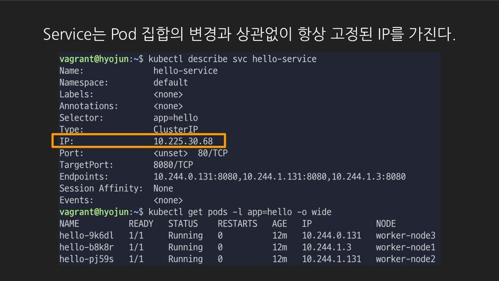 Service는 Pod 집합의 변경과 상관없이 항상 고정된 IP를 가진다.