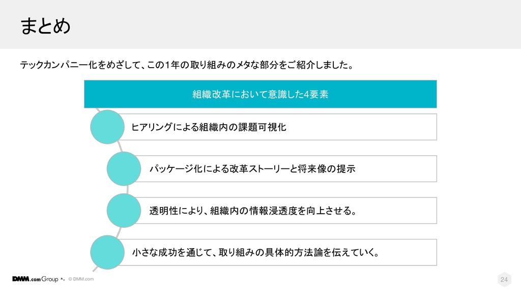 © DMM.com 24 まとめ テックカンパニー化をめざして、この1年の取り組みのメタな部分...
