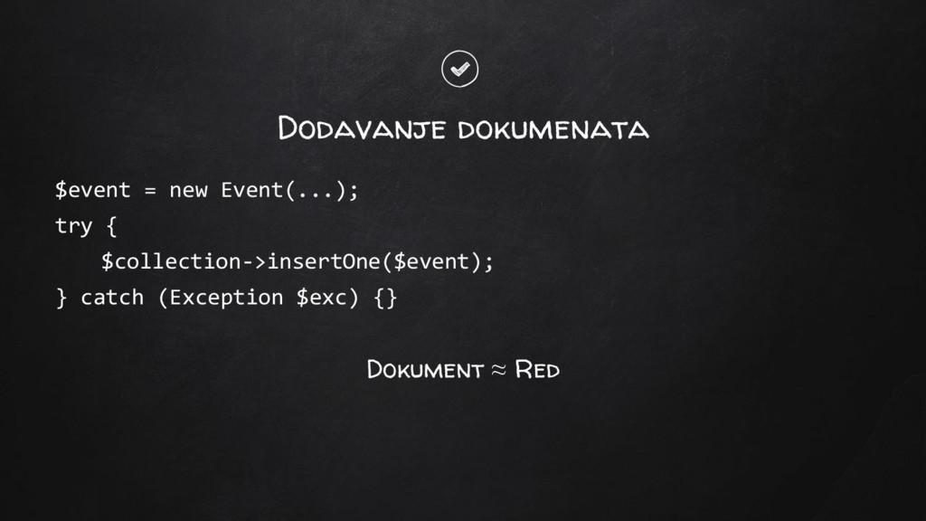 Dodavanje dokumenata $event = new Event(...); t...