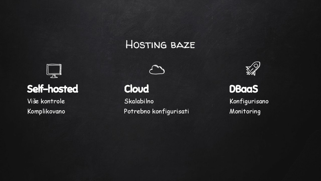 Hosting baze Self-hosted Više kontrole Kompliko...