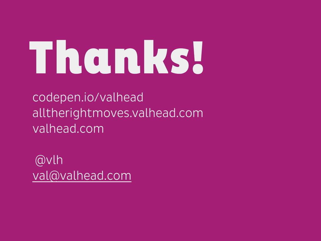 codepen.io/valhead alltherightmoves.valhead.com...