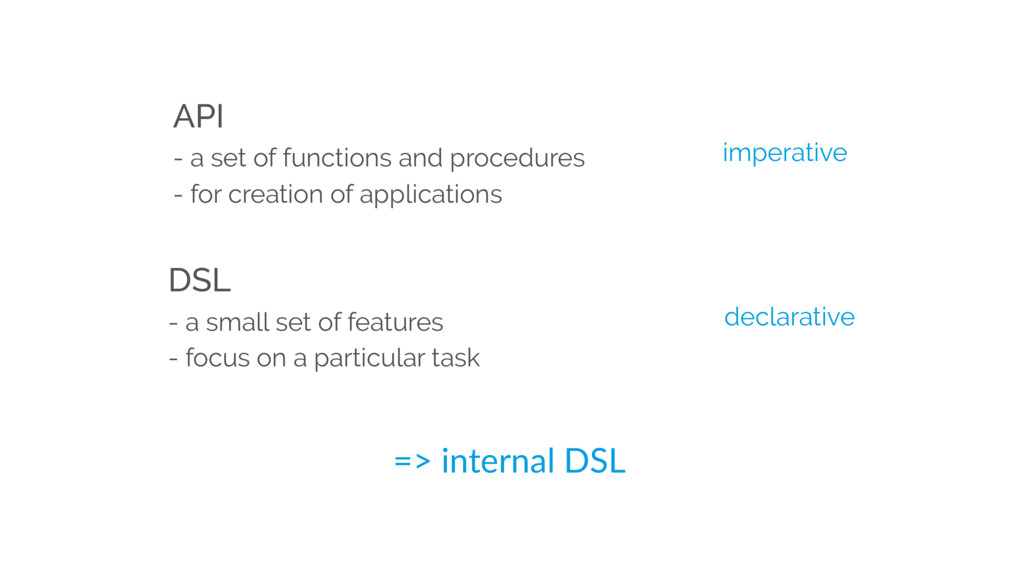 DSL - a small set of features - focus on a part...