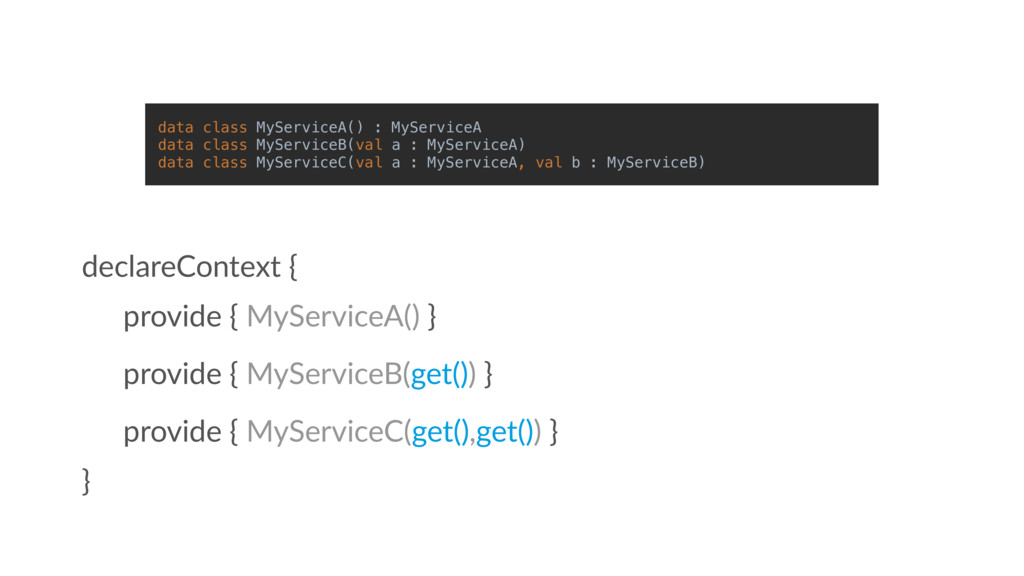 provide { MyServiceA() } declareContext { } dat...