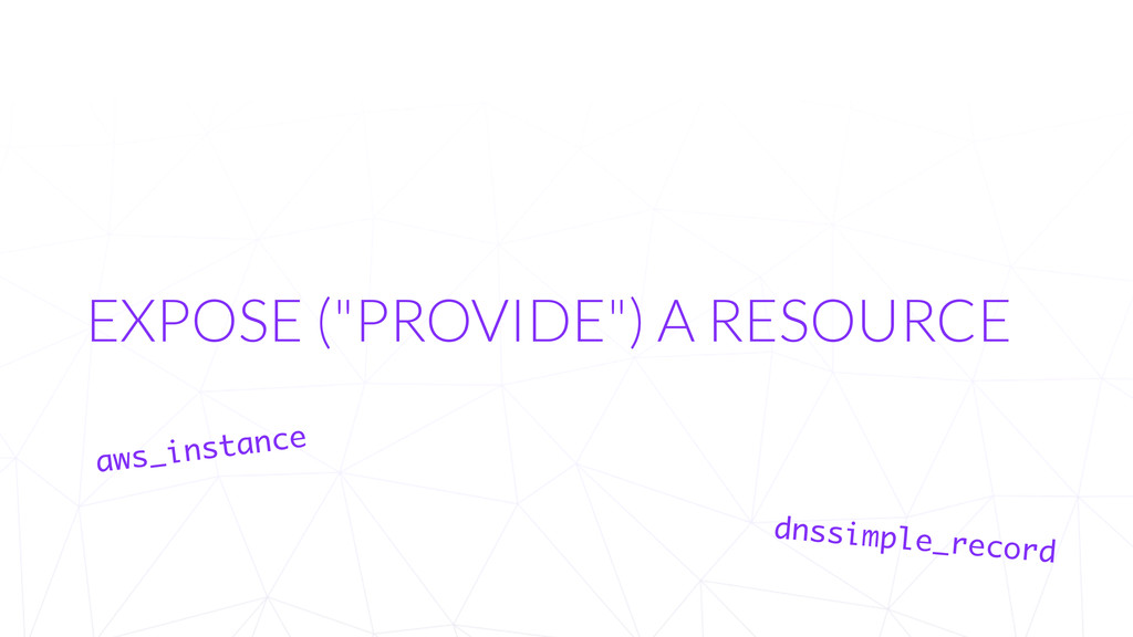 """EXPOSE (""""PROVIDE"""") A RESOURCE aws_instance dnss..."""