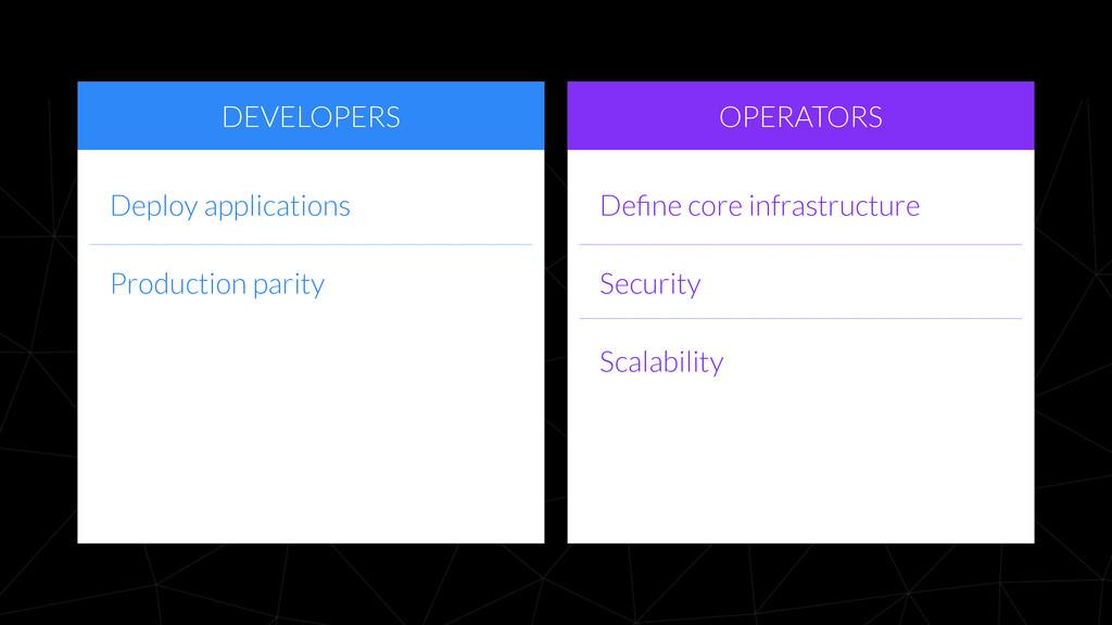 DEVELOPERS OPERATORS Define core infrastructure ...