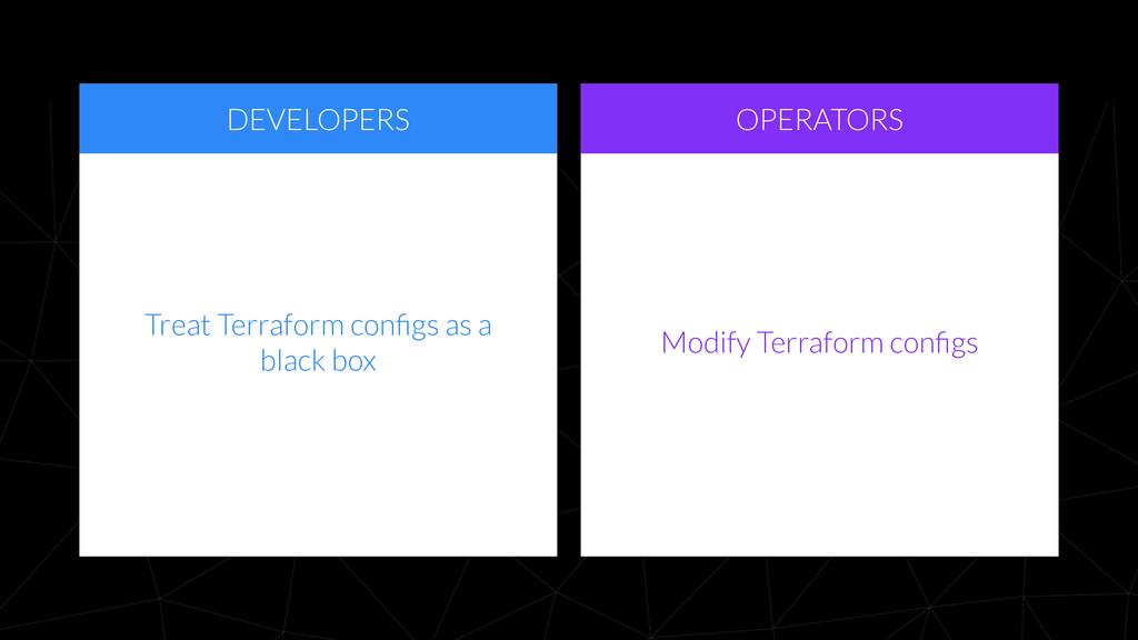 DEVELOPERS OPERATORS Modify Terraform configs Tr...