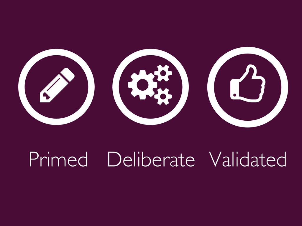 Primed  Deliberate  Validated  ƾ ƾ ƾ