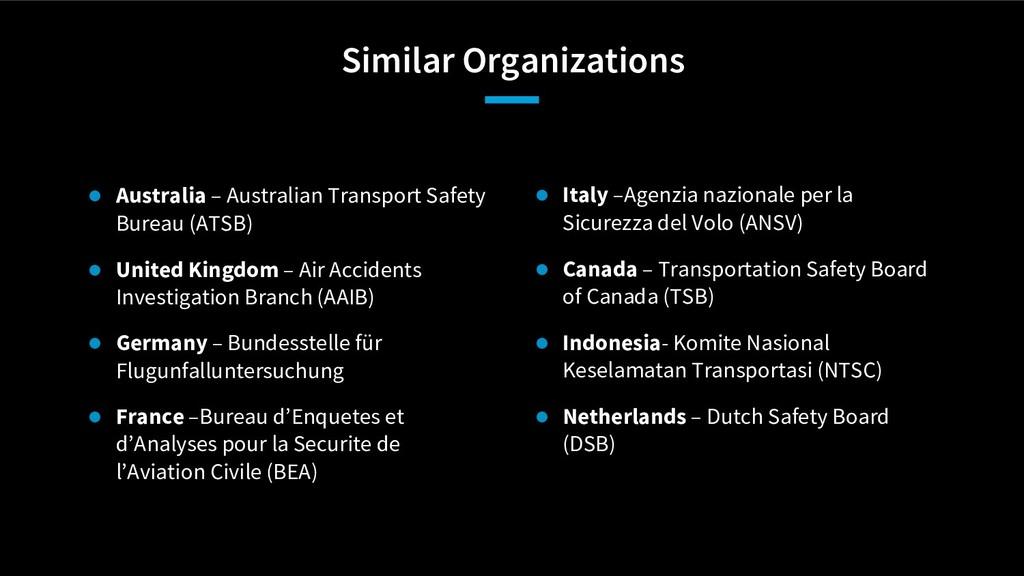 Similar Organizations ● Italy –Agenzia nazional...