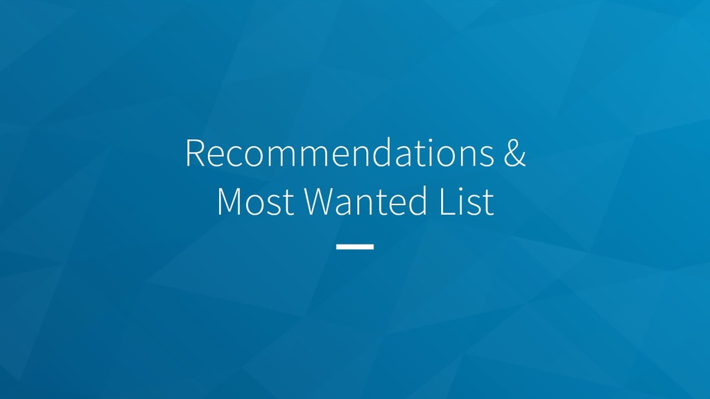 Recommendations & Most Wanted List