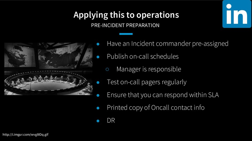 Applying this to operations PRE-INCIDENT PREPA...