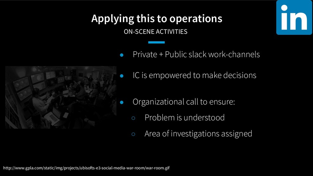 Applying this to operations ON-SCENE ACTIVITIE...