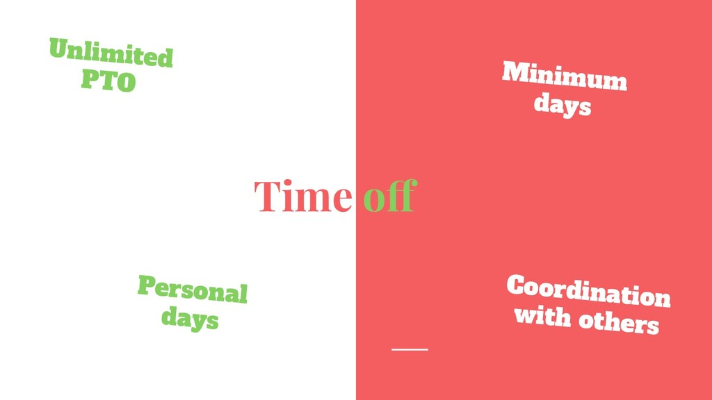 Time off Unlimited PTO Minimum days Coordinatio...