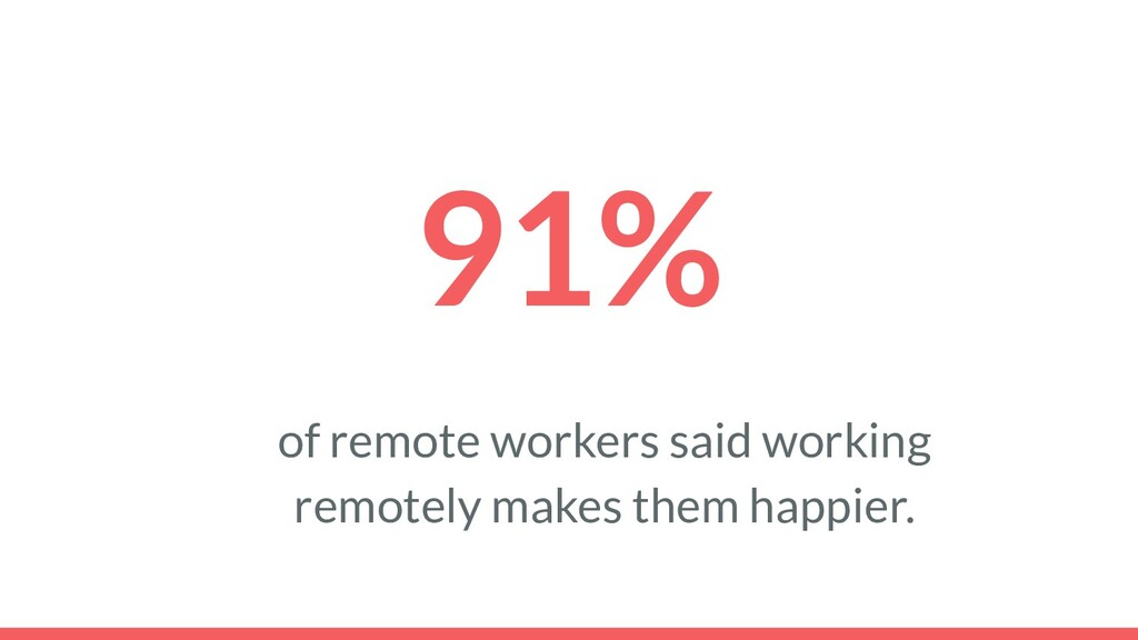 91% of remote workers said working remotely mak...