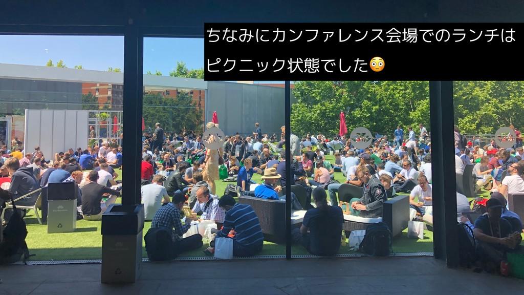 ちなみにカンファレンス会場でのランチは ピクニック状態でした