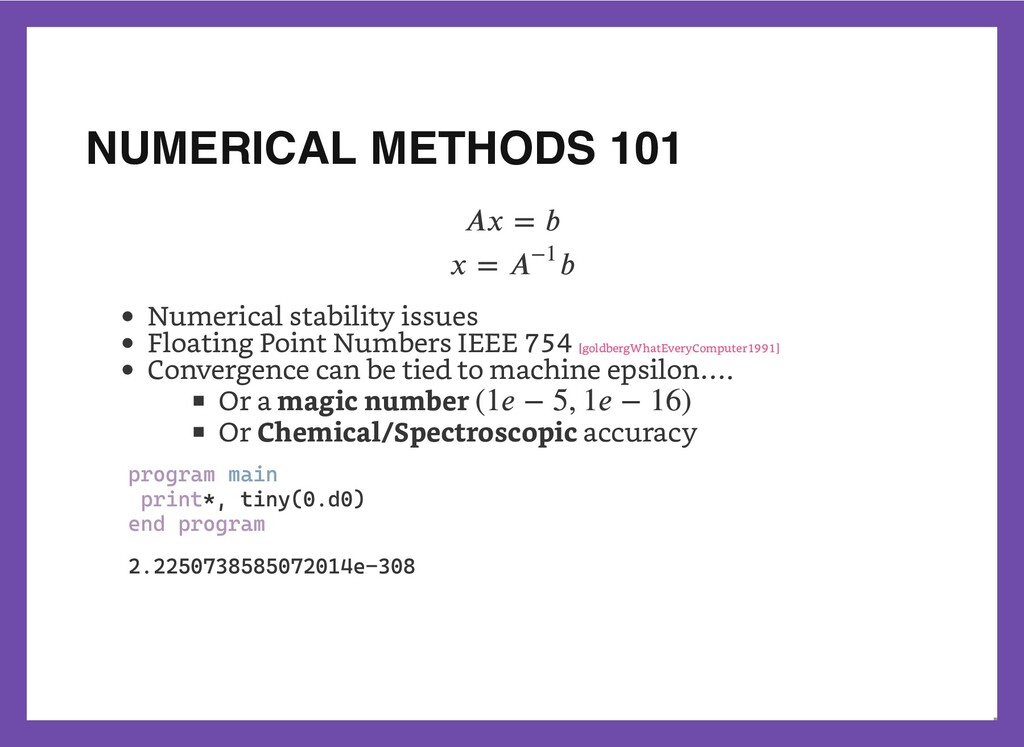 NUMERICAL METHODS 101 Numerical stability issue...