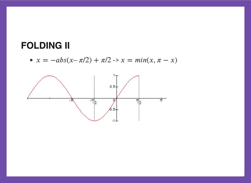 FOLDING II -> 𝑥 = −𝑎𝑏𝑠(𝑥– 𝜋/2) + 𝜋/2 𝑥 = 𝑚𝑖𝑛(𝑥,...