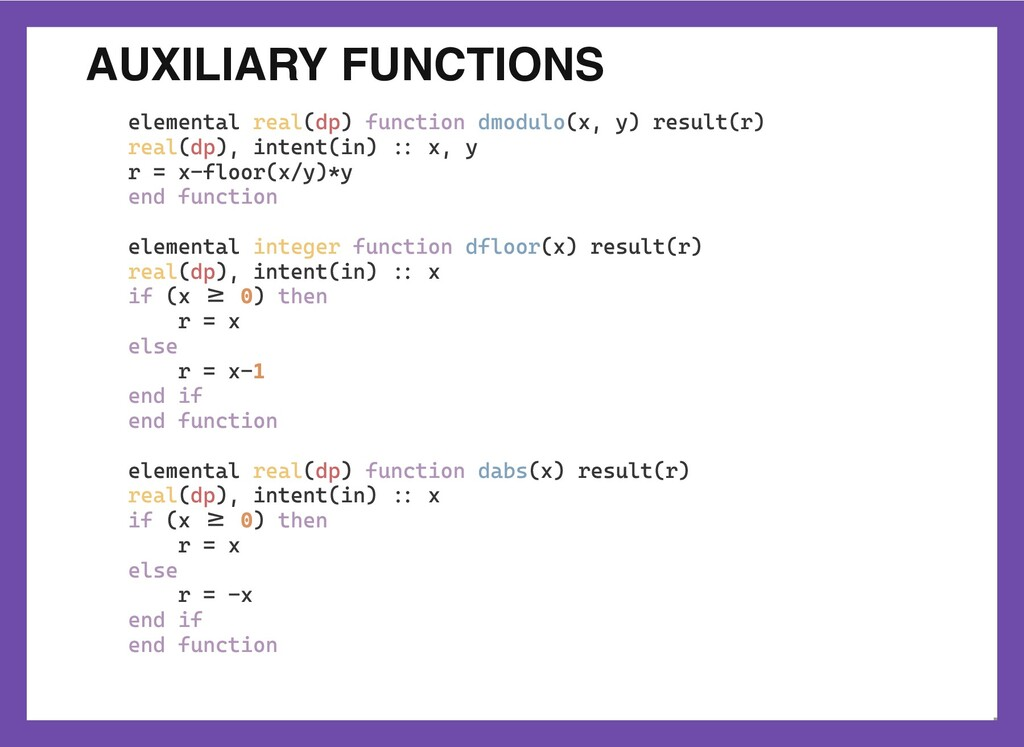 AUXILIARY FUNCTIONS elemental real(dp) function...