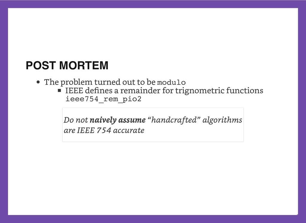 POST MORTEM The problem turned out to be modulo...