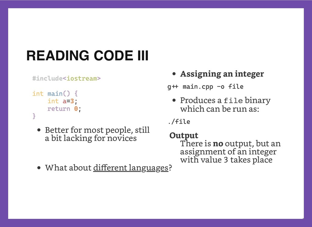 READING CODE III #include<iostream>    int main...