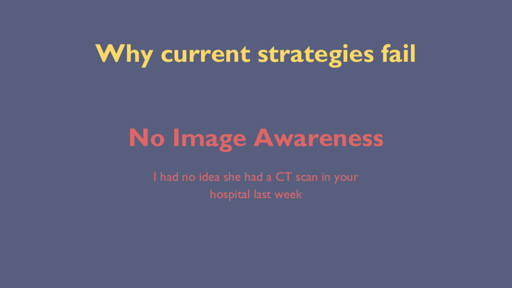Why current strategies fail No Image Awareness ...