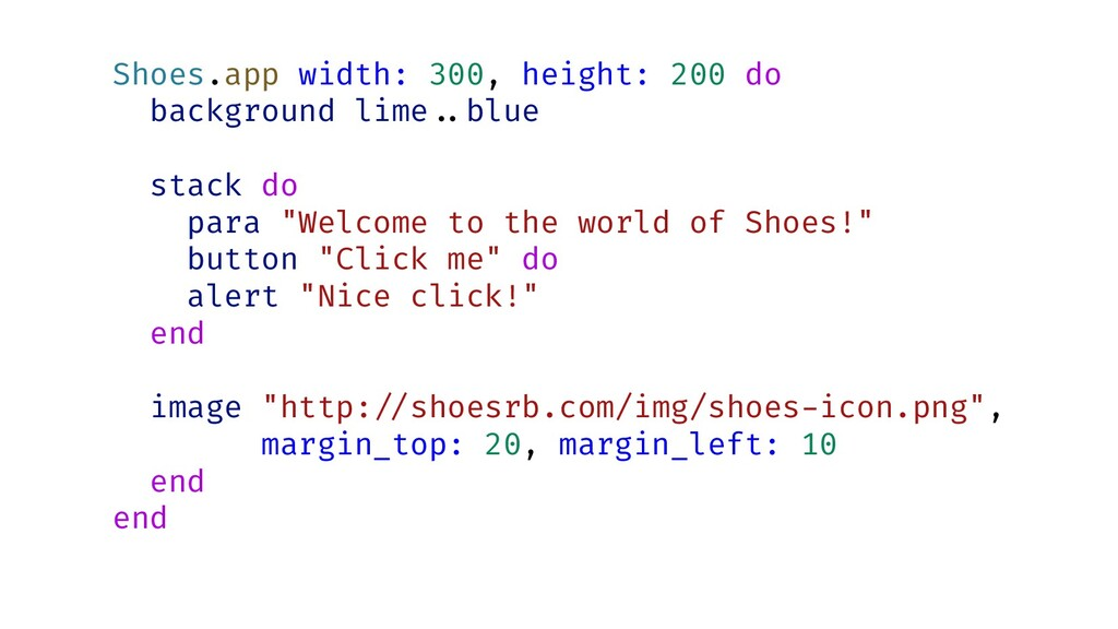 Shoes.app width: 300, height: 200 do background...