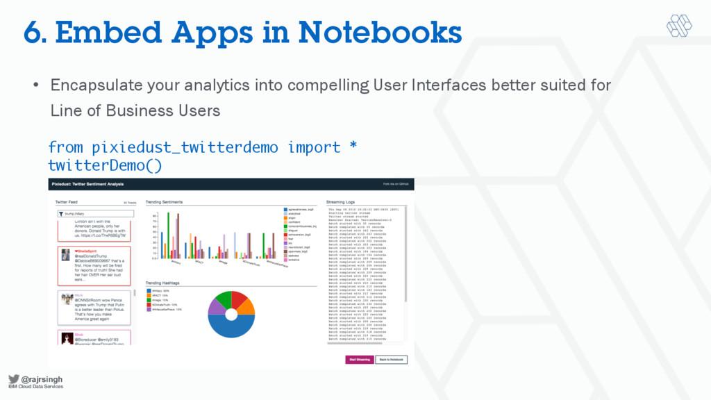 @rajrsingh IBM Cloud Data Services 6. Embed App...