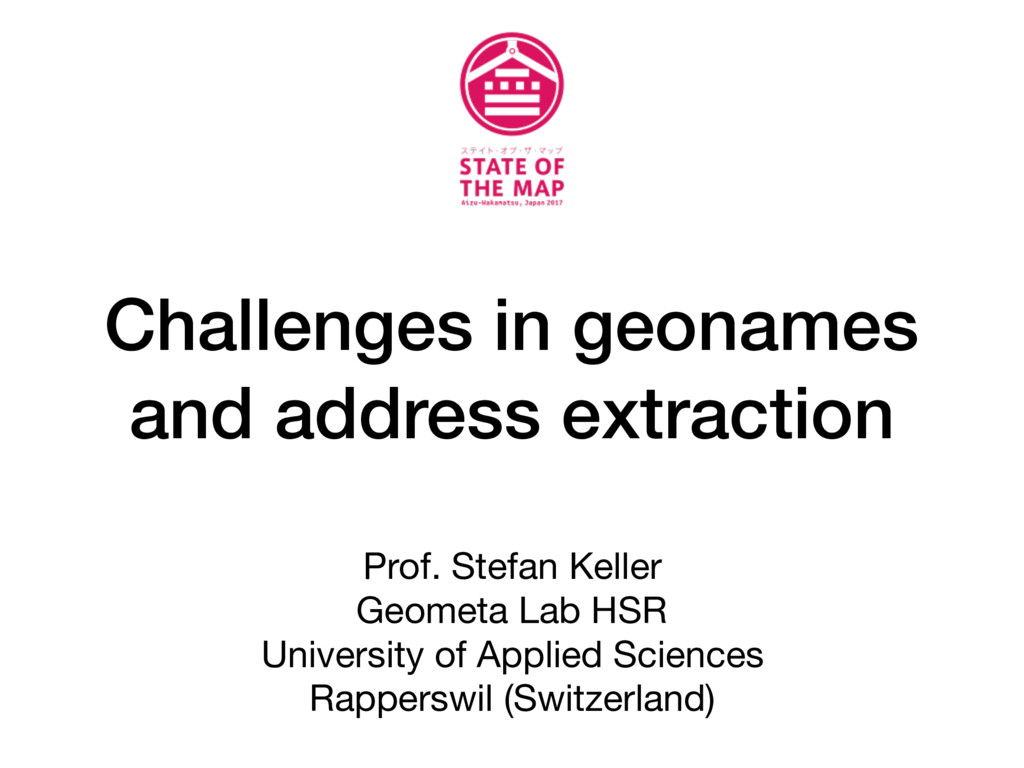 Challenges in geonames and address extraction P...