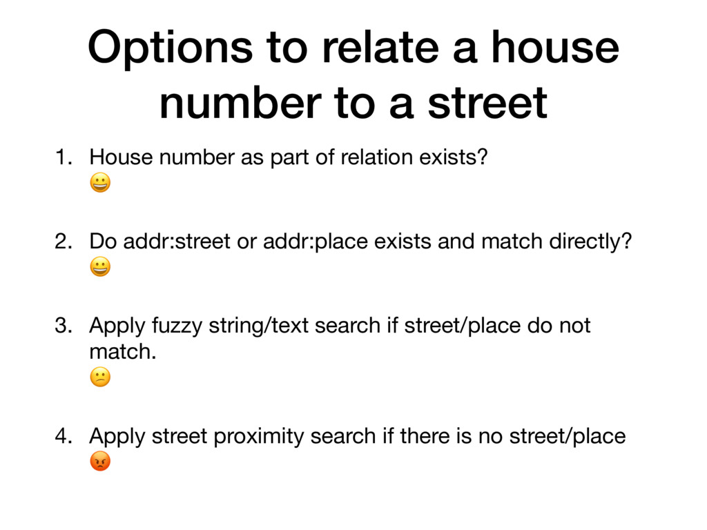 Options to relate a house number to a street 1....