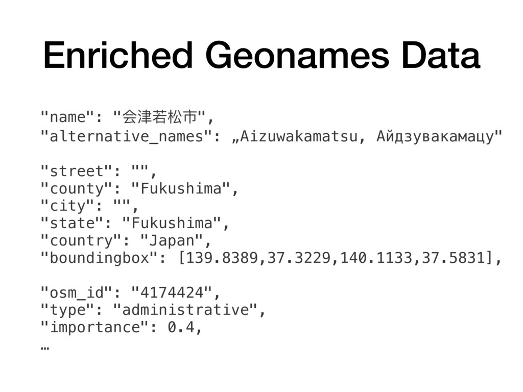 "Enriched Geonames Data ""name"": ""会津若松市"", ""altern..."