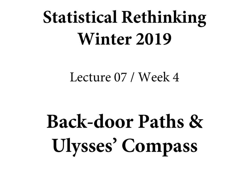 Back-door Paths & Ulysses' Compass Statistical ...