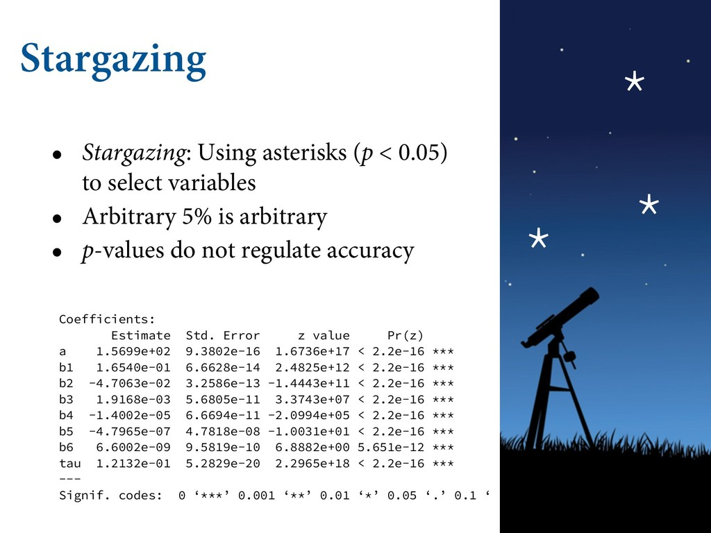 Stargazing • Stargazing: Using asterisks (p < 0...