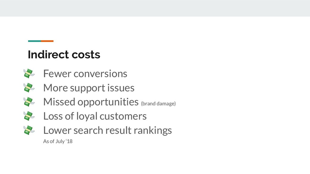 Indirect costs  Fewer conversions  More support...