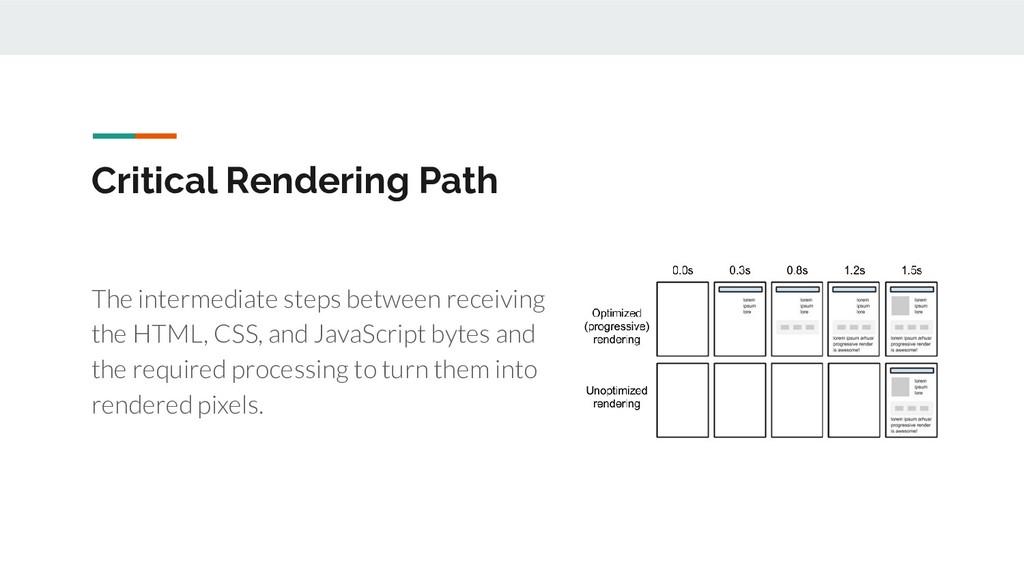 Critical Rendering Path The intermediate steps ...