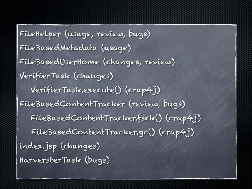 FileBasedMetadata (usage) FileHelper (usage, re...