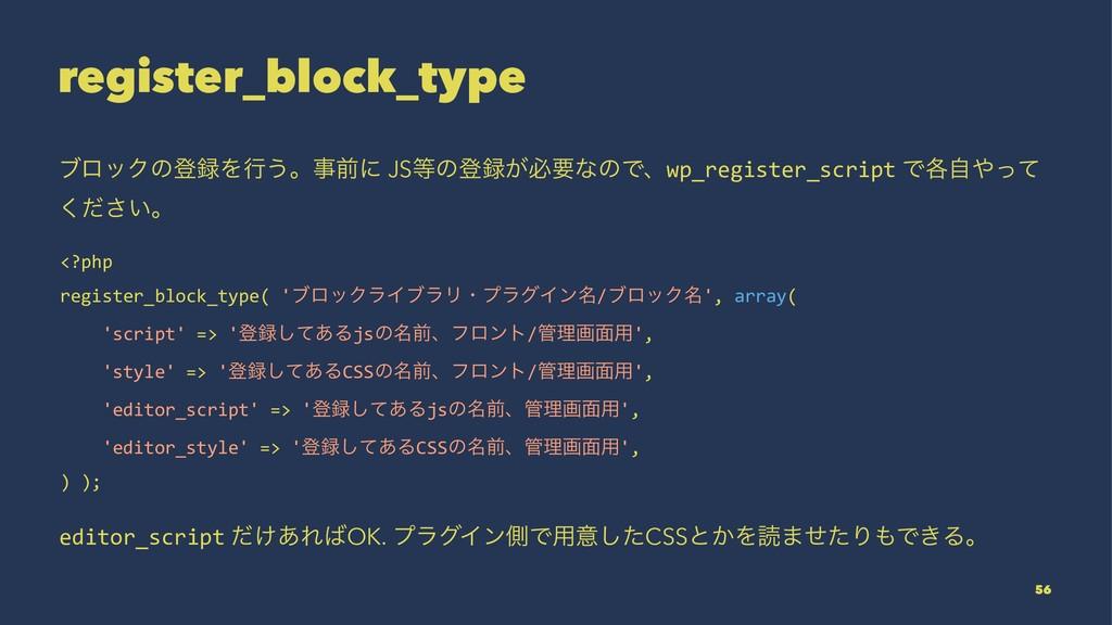 register_block_type ϒϩοΫͷొΛߦ͏ɻલʹ JSͷొ͕ඞཁͳͷͰ...