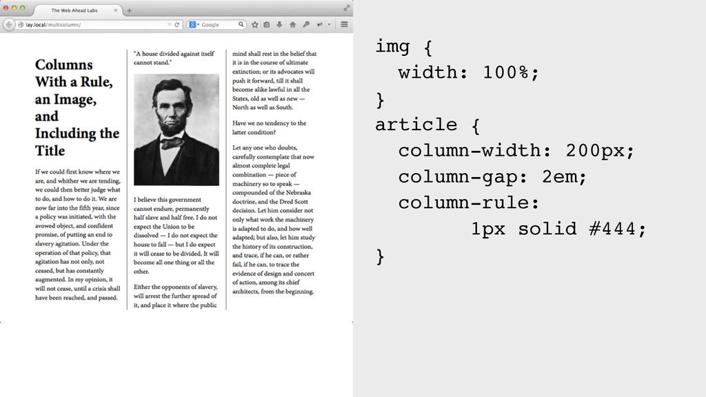 img { width: 100%; } article { column-width: 20...