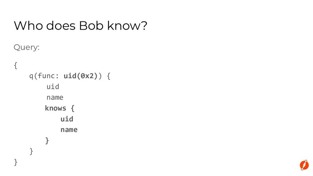Query: { q(func: uid(0x2)) { uid name knows { u...